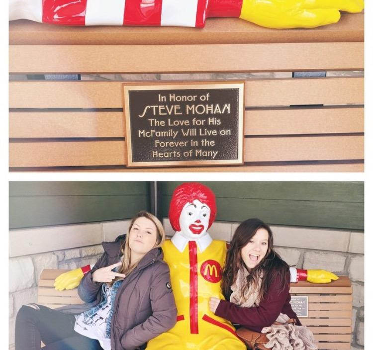 Bench outside of Chicago's Ronald McDonald House in Memoriam of Steve Mohan. Pictured with Ronald is Steve and Anne's daughter, Paige, and her friend.