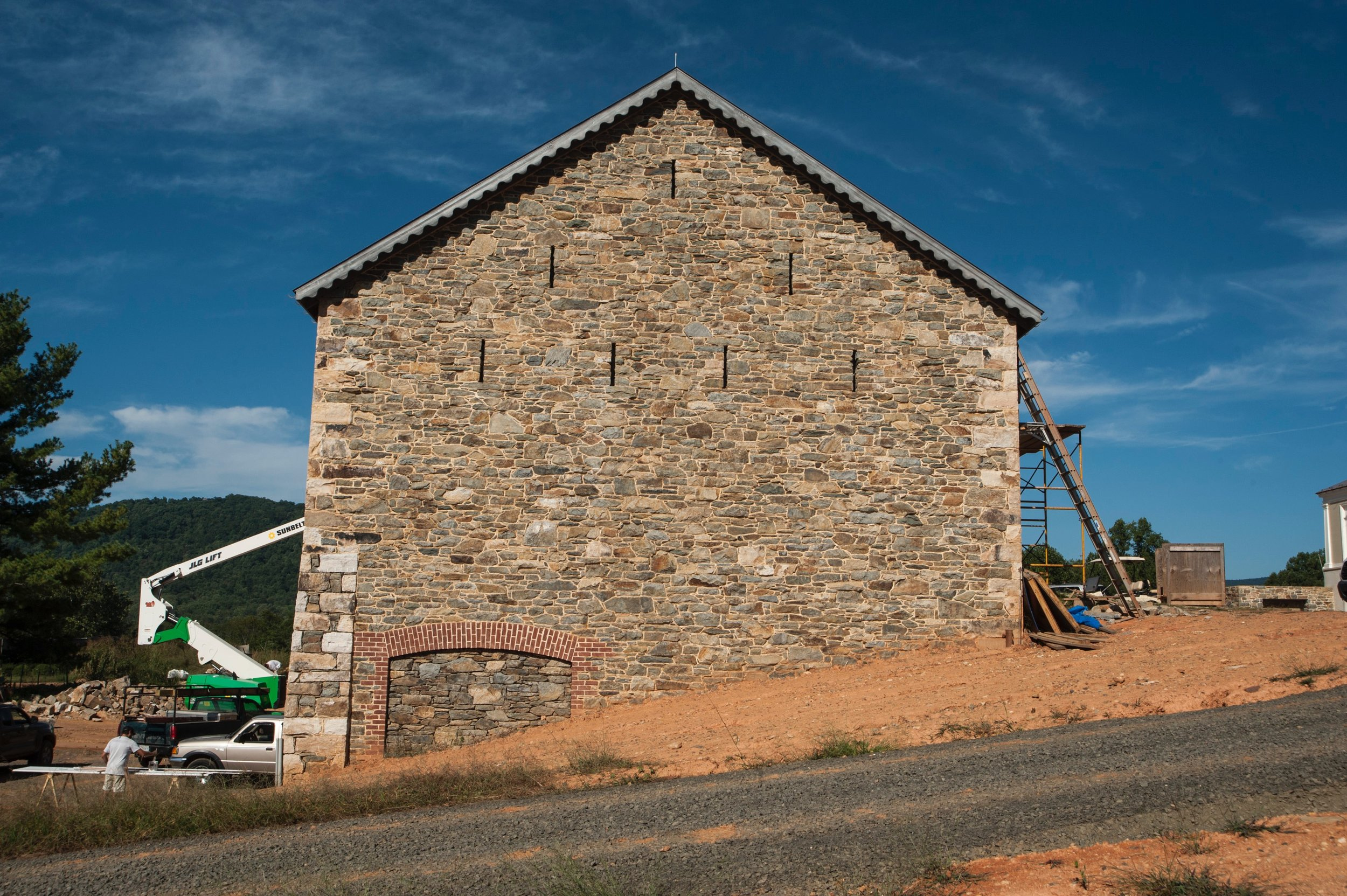 Stone barn nearing completion.