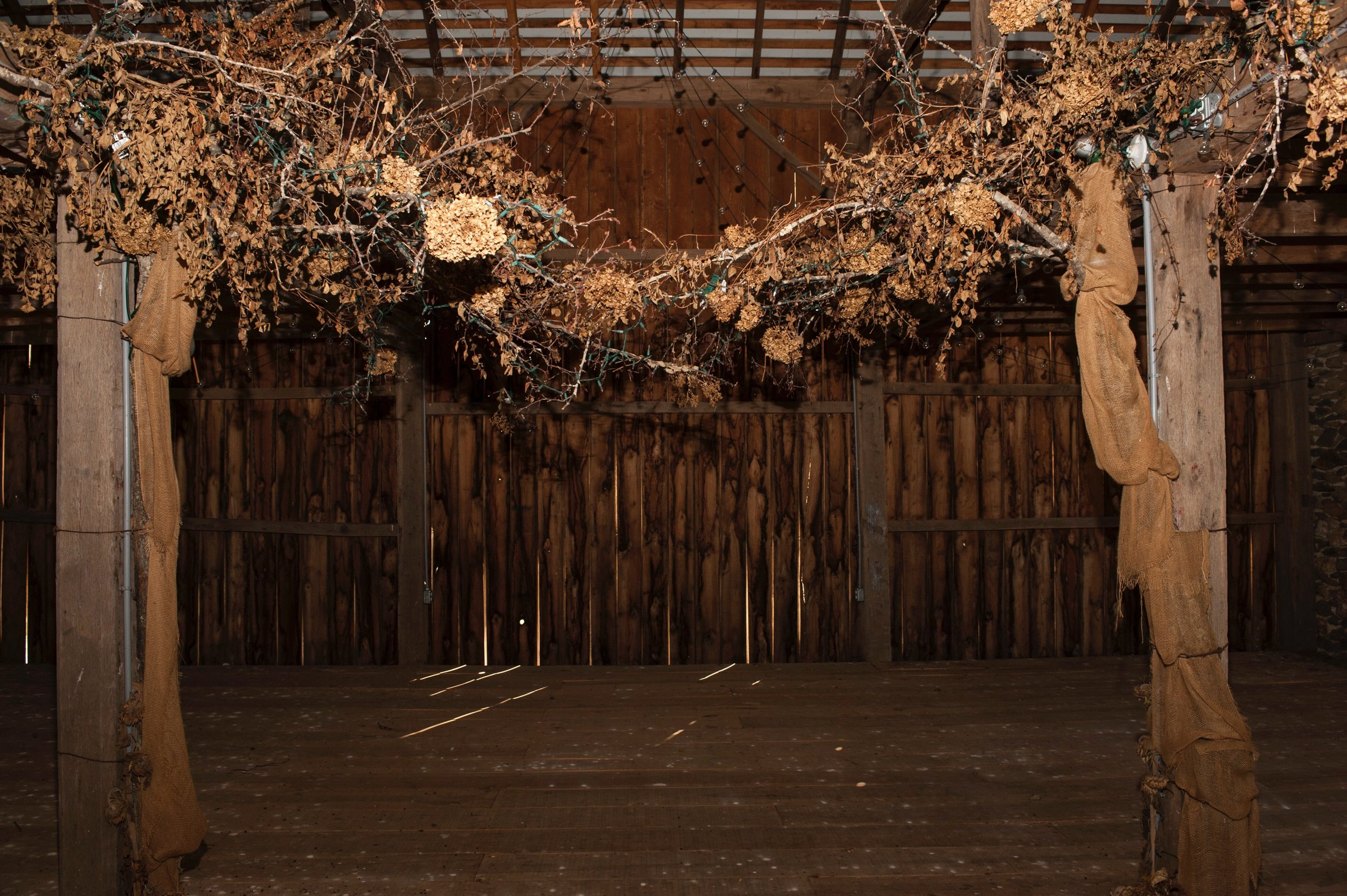 A garland of dried flowers from the Crofts' daughter's wedding still decks the barn.