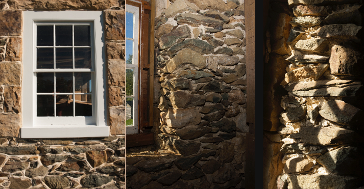 Series of images: Exterior barn window is surrounded by traditional masonry. The interior stone is common, unpointed rubble, true to period construction.