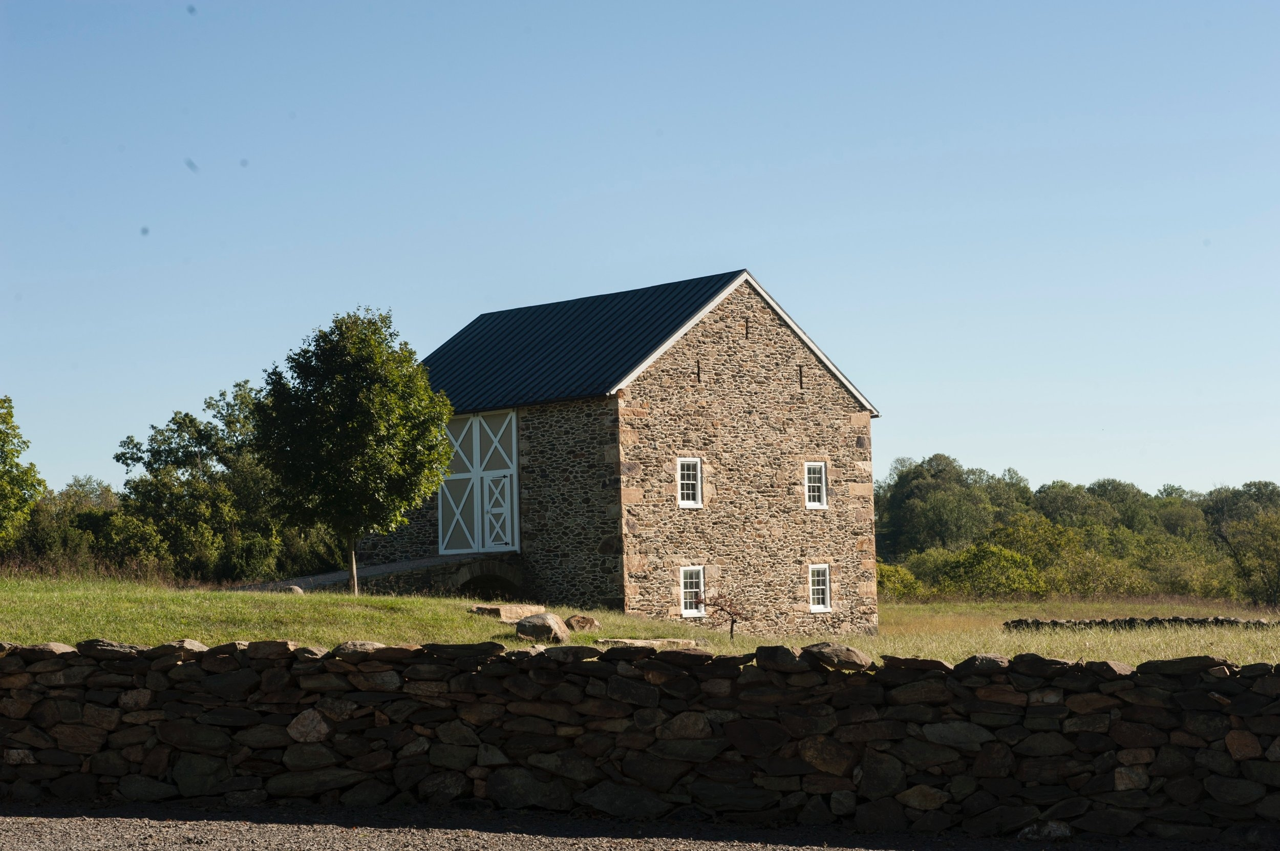 View of the stone barn from the Crofts' home.