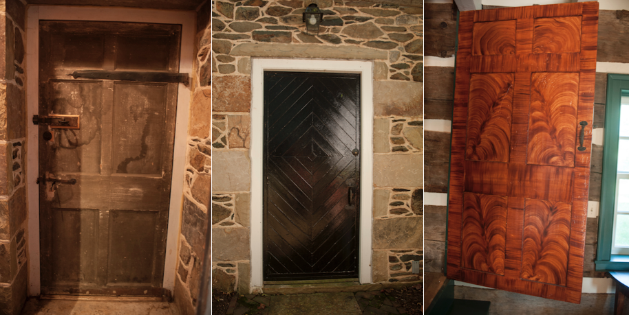 Three door styles in the addition: interior kitchen level door, exterior of the same door, and cabinet door.