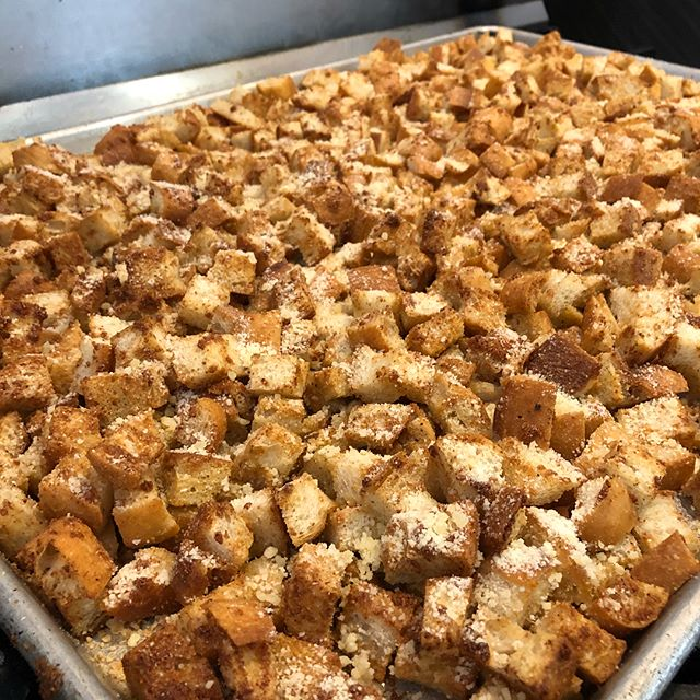 Oh yeah... We make our own croutons. 🍕+🥗=🕺💃