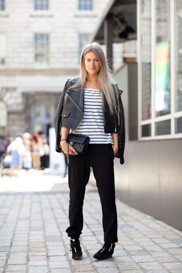 A striped shirt and playful silhouettes make this outfit.