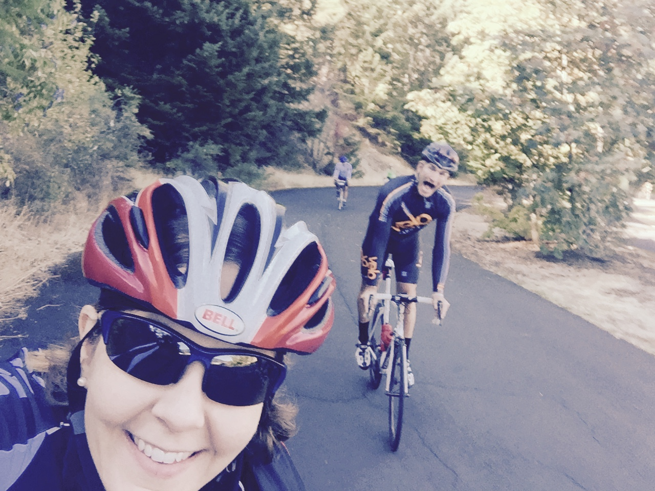 Cycling along the Historic Columbia River Highway State Trail in Oregon
