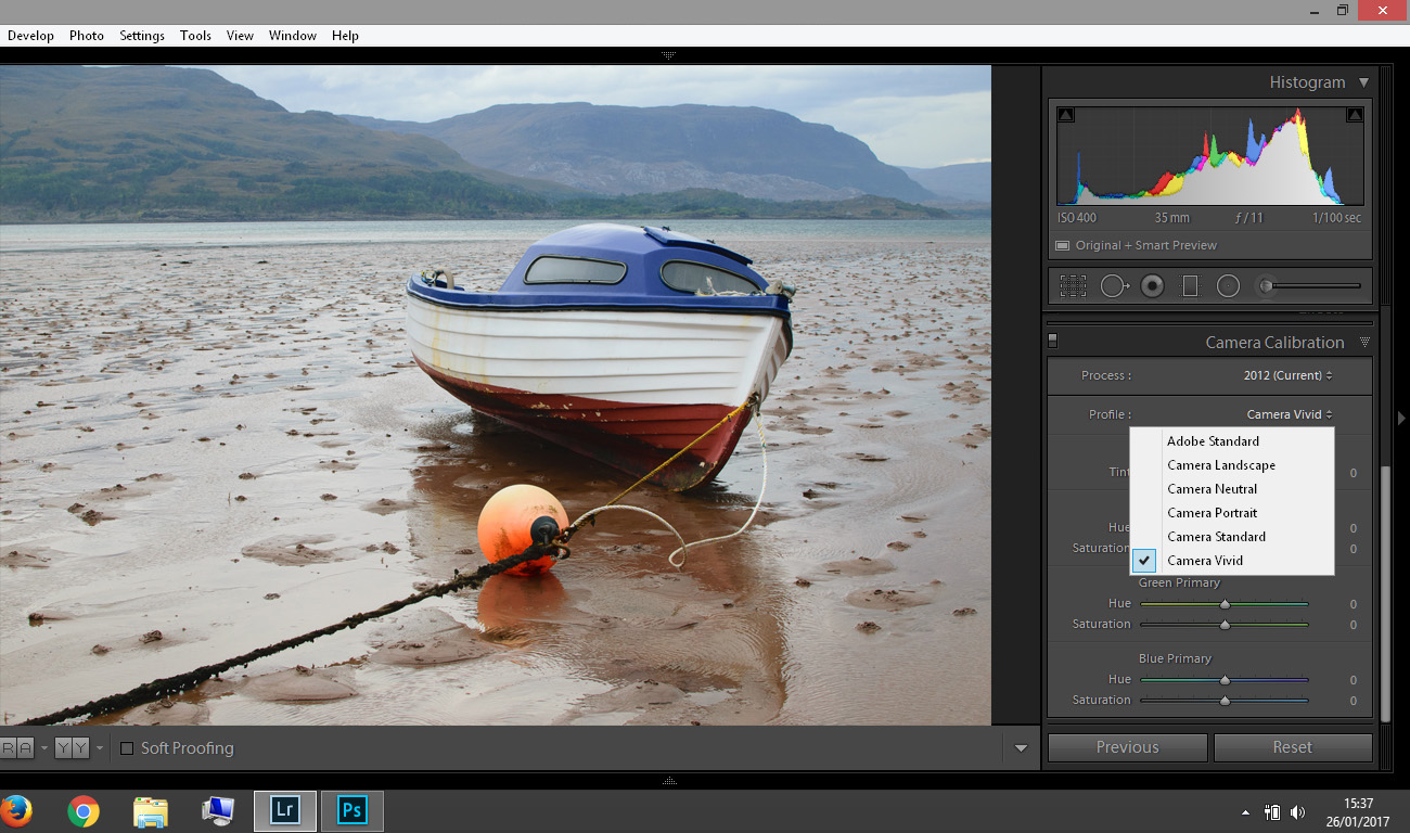 The only difference between this and the image above is that I have chosen Camera Vivid as the calibration profile