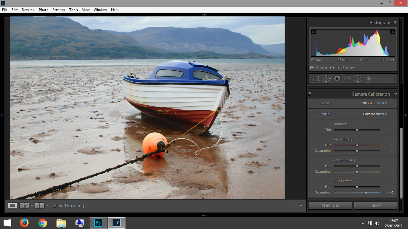 By increasing the saturation in the Blue Primary sliders you can see a noticeable difference in the boat