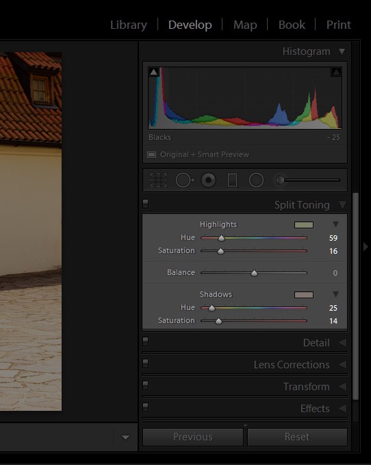 Adobe Lightroom Split tone settings