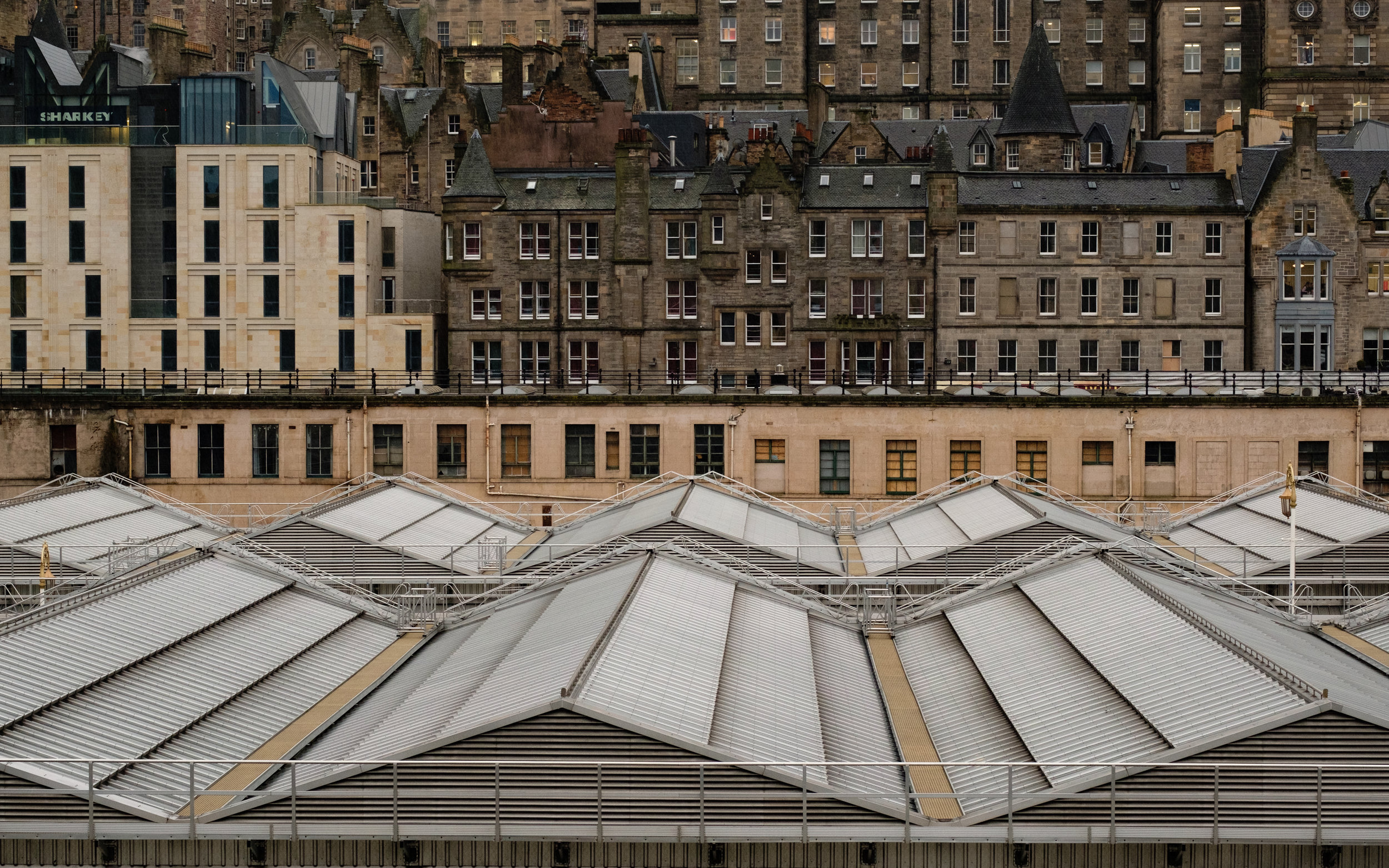 Looking out over Waverley Station toward the Old Town [XT2 / Provia]