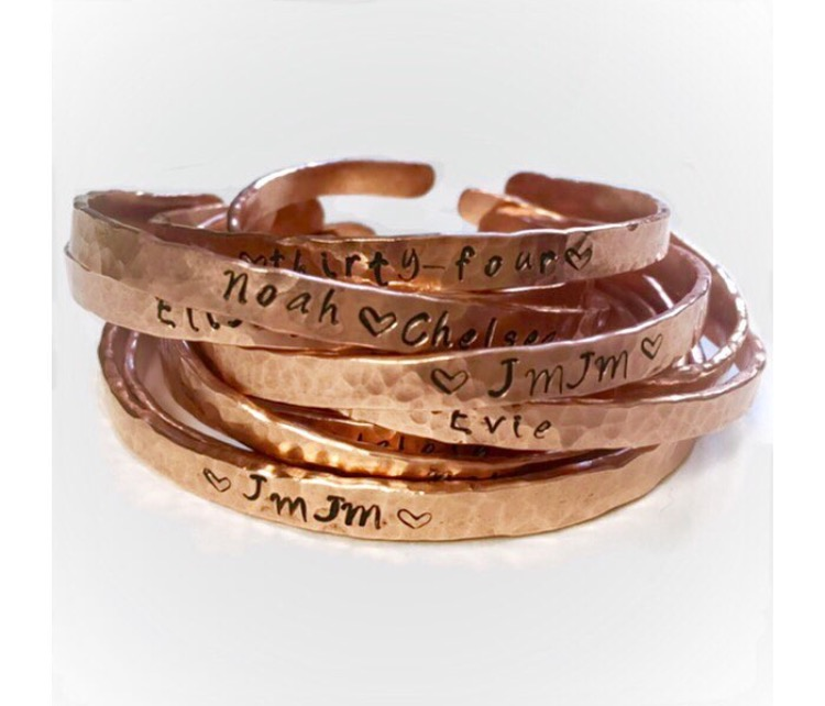 Handmade and stamped copper bangles Adoption Fundraiser   https://www.etsy.com/shop/piecefullittles
