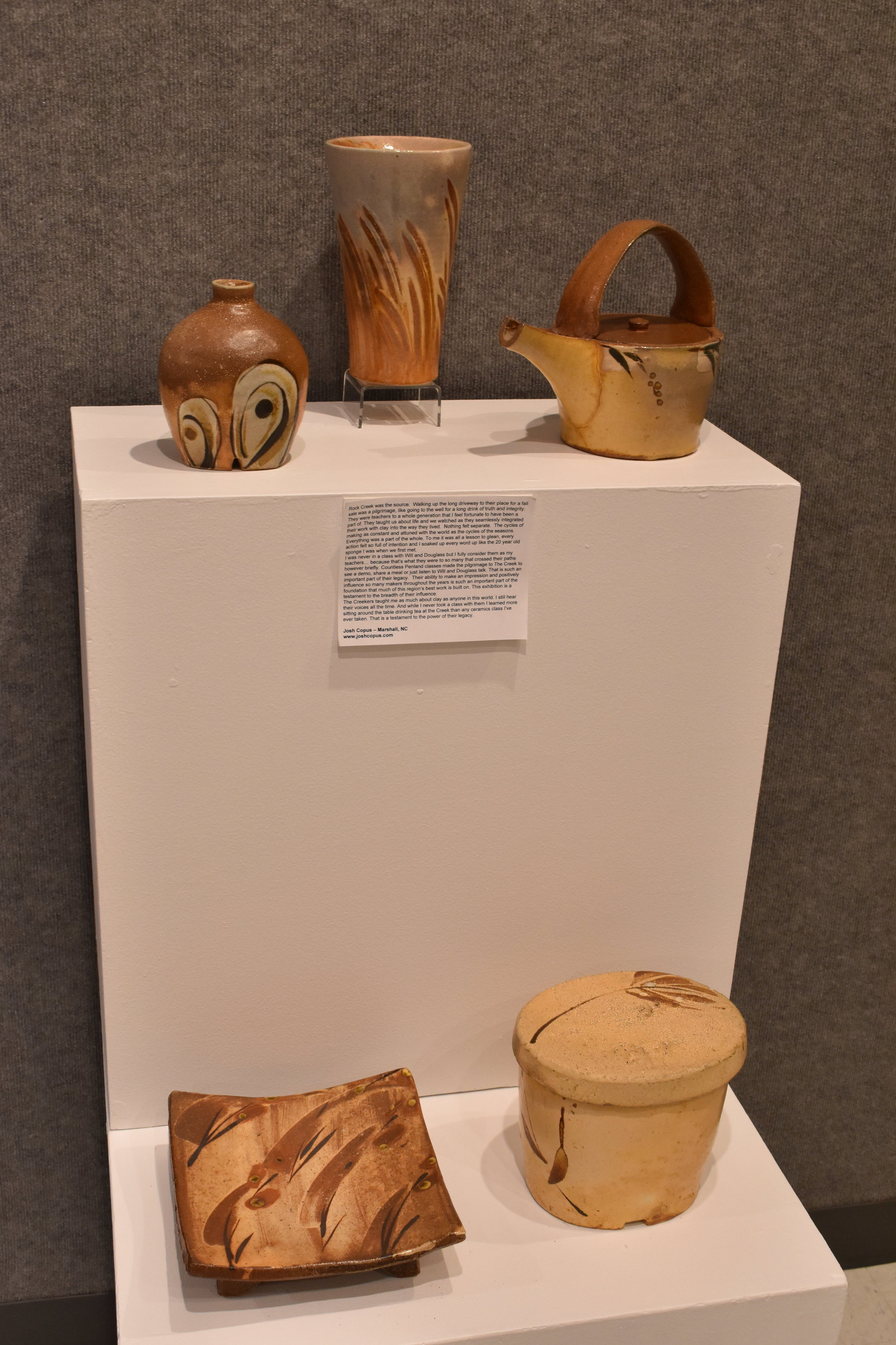 Pots contributed by Josh Copus. The vase at top center is his work, and the rest are from his personal collection.
