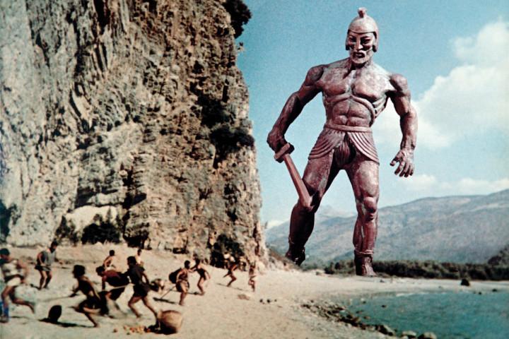 Figure 3: the bronze giant Talos menaces Jason and his men in  Jason and the Argonauts .