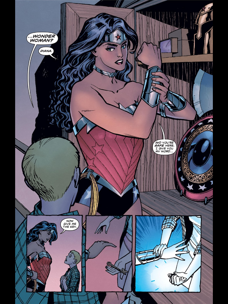 Figure 4: Wonder Woman's Greek-less equipment in issue #1 of Brian Azzarello's run on  Wonder Woman  (2011; republished in 2015 as the trade paperback  Wonder Woman Volume 1: Blood (The New 52) ). Photo credit: screen capture from comic book.