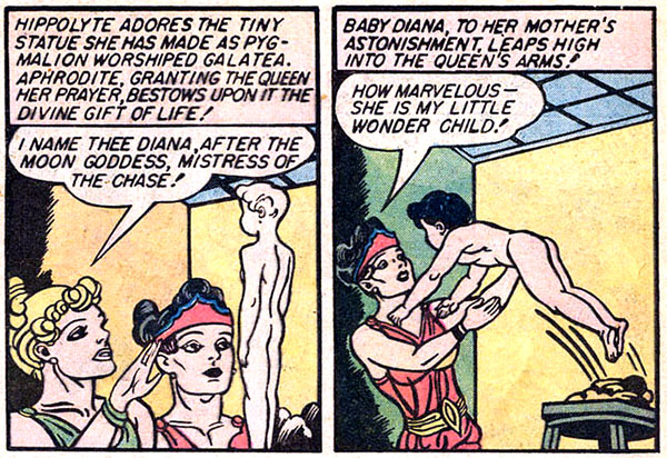 """Figure 5: Hippolyte names her daughter """"Diana"""" in  Sensation Comics  #1 (1941). Interestingly, the goddess Diana isn't one of the four gods whose powers are similar to Wonder Woman's. According to  Wonder Woman  #1, they're Athena, Aphrodite, Mercury, and, of all people, Hercules! Photo credit: cosmicteams.com"""