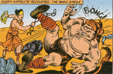 Figure 6: After Hercules takes Hippolyta's girdle in  Wonder Woman  #1 (1942), the Amazons defeat him and then leave for Paradise Island (=Themyscira). Photo credit: shehulk.silverofice.com.