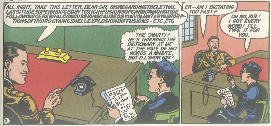 Figure 7: Diana Prince takes dictation for an army officer in  Sensation Comics  #3 (1942). Photo credit: scan of a comic book.