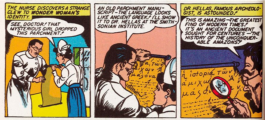 """Figure 8: Diana somehow """"drops"""" an ancient Greek scroll detailing her origins in  Wonder Woman  #1 (1942). Photo credit: scan from comic book."""