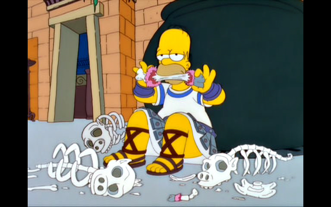 "Figure 3: Mmmm...human pork. Homer eating one of his companions in the  The Simpsons  episode ""From the Public Domain"" (13.14). Image credit: screen capture (Gracie Films/20th Century Fox Company)."