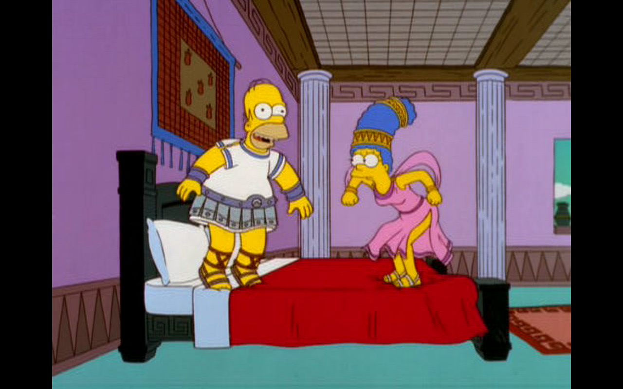 "Figure 4: Olivewood, scholivewood. Homer and Marge know the true test of the bed in the  The Simpsons  episode ""From the Public Domain"" (13.14). Image credit: screen capture (Gracie Films/20th Century Fox Company)."