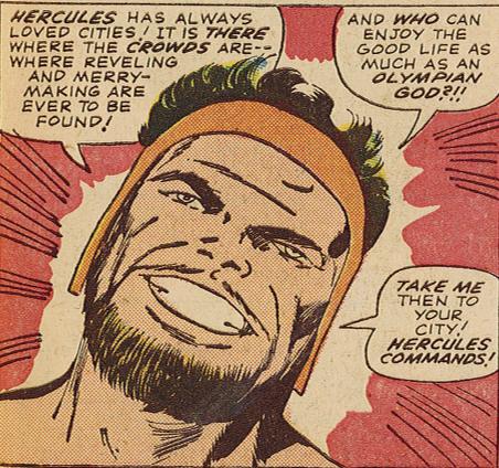 Figure 1: Herc loves urban life in this panel from  The Mighty Thor  #125 (1966). Image credit: scan from comic book (Marvel).
