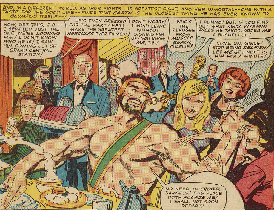 Figure 3: At a party in  The Mighty Thor  #125 (1966), Hercules enjoys food and the attention of women and a Hollywood casting agent. Image credit: scan from the comic book (Marvel).