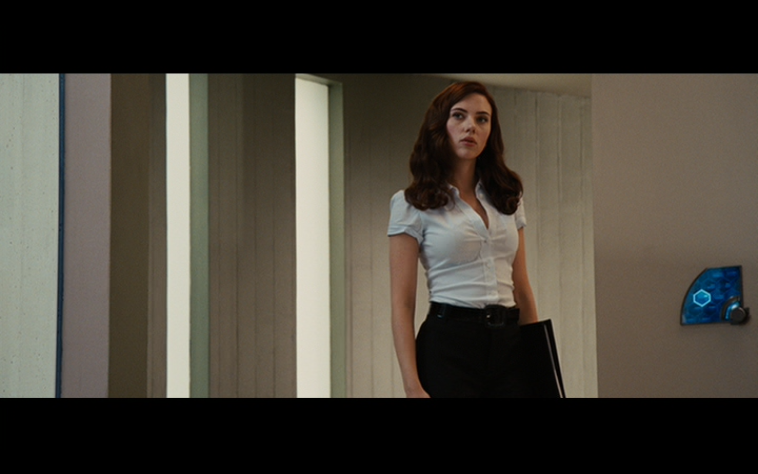 Figure 1: Natasha Romanoff's first appearance as Natalie Rushman in  Iron Man 2 . Photo credit: screen capture (Paramount Pictures/Marvel Studios).