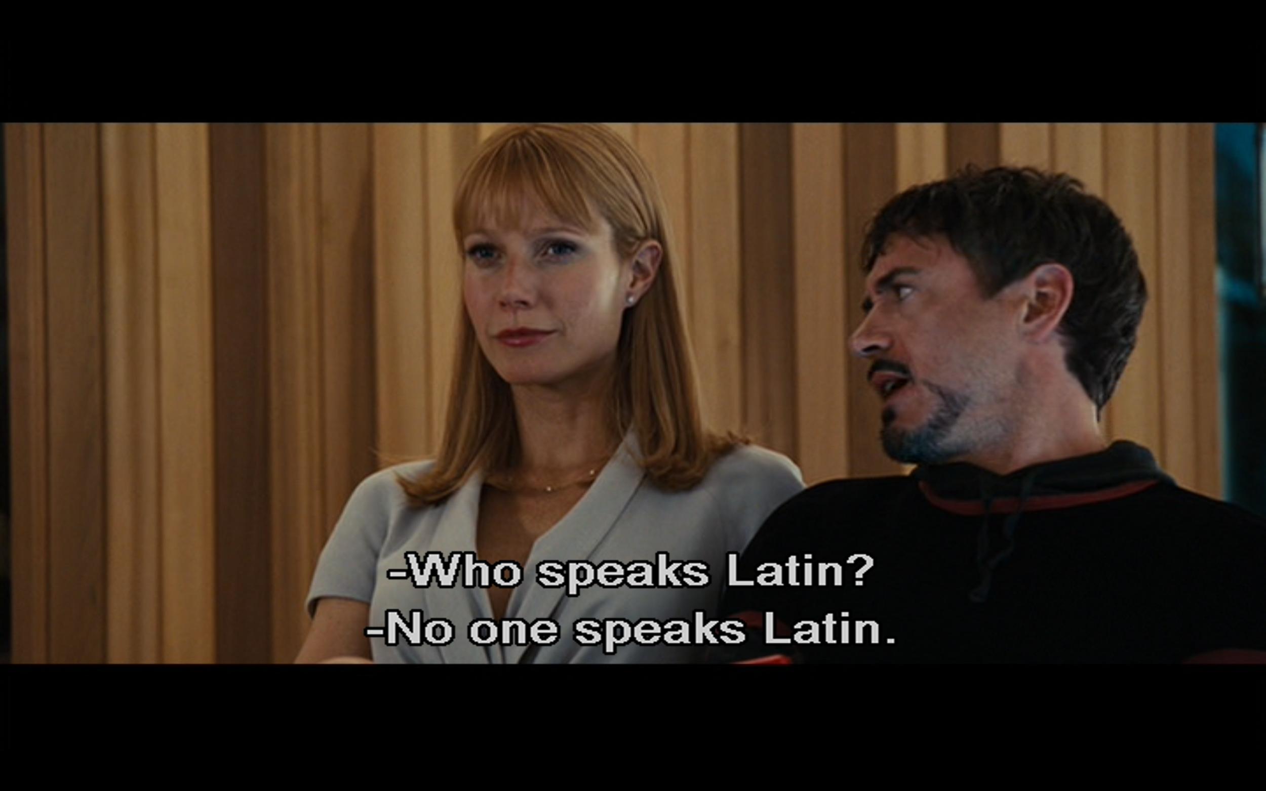 Figure 2: Tony and Pepper discuss Natasha Rushman's background in Latin in  Iron Man 2 .  Photo credit: screen capture (Paramount Pictures/Marvel Studios).