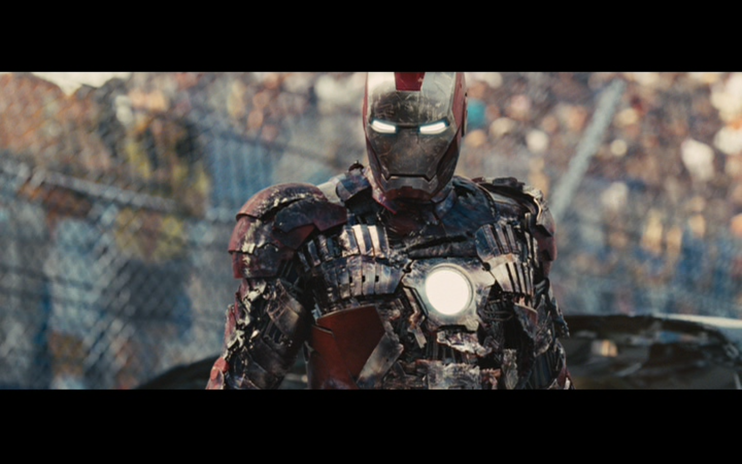 Figure 4: Vanko's initial success against Tony severely damages the Iron Man armor in  Iron Man 2 .   Photo credit: screen capture (Paramount Pictures/Marvel Studios).