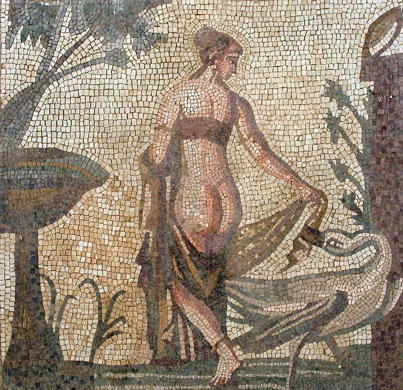 Figure 1: In this third-century A.D. Roman mosaic from Cyprus, Leda is seduced by the Zeus-swan, who tugs aggressively at one of the queen's garments. Photo credit: Wikimedia Commons.