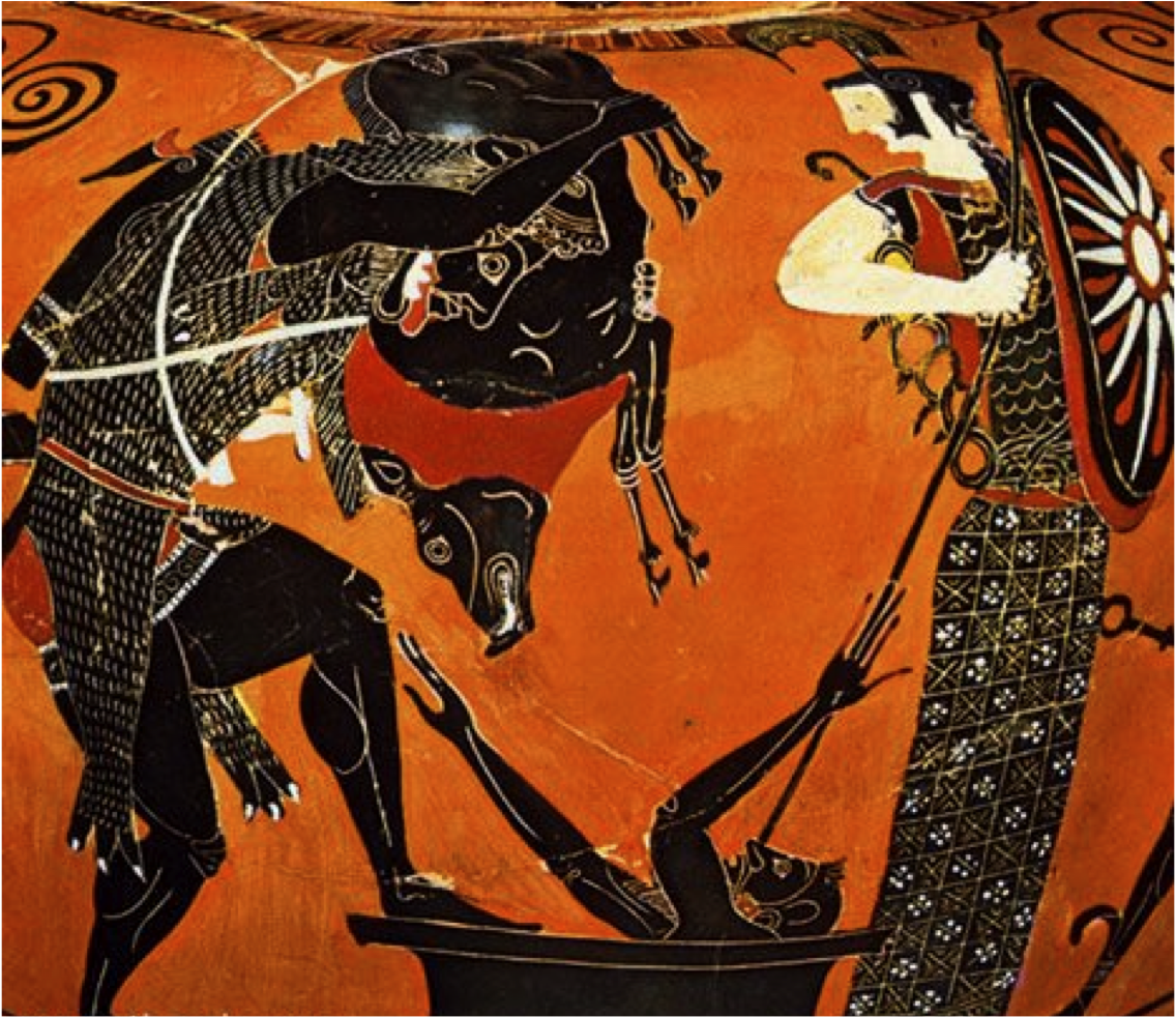 Figure 1: an Attic black-figure amphora from the 6th BC depicting a caveman Hercules showing the live Erymanthian Boar to a terrified Eurystheus. Image credit: Wikimedia Commons.
