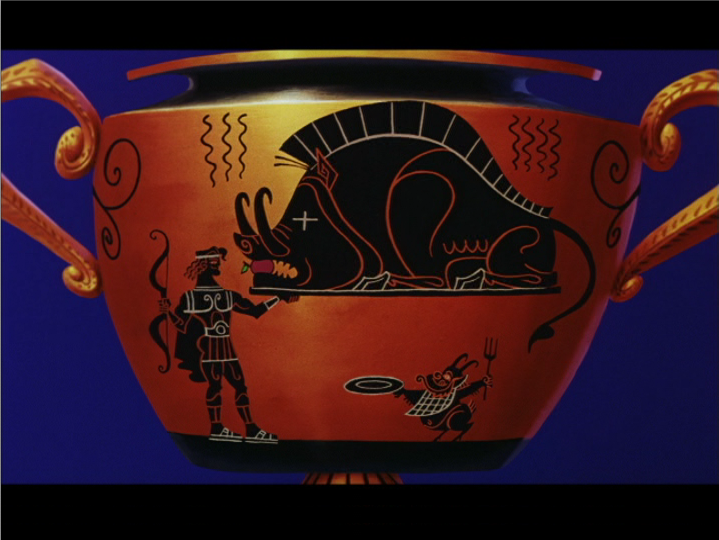 Figure 2: an imitation black-figure skyphos (cup) from Disney's  Hercules . Note the heat waves emanating from the boar's cooked carcass. Image credit: screen capture (Walt Disney Pictures/Walt Disney Feature Animation).