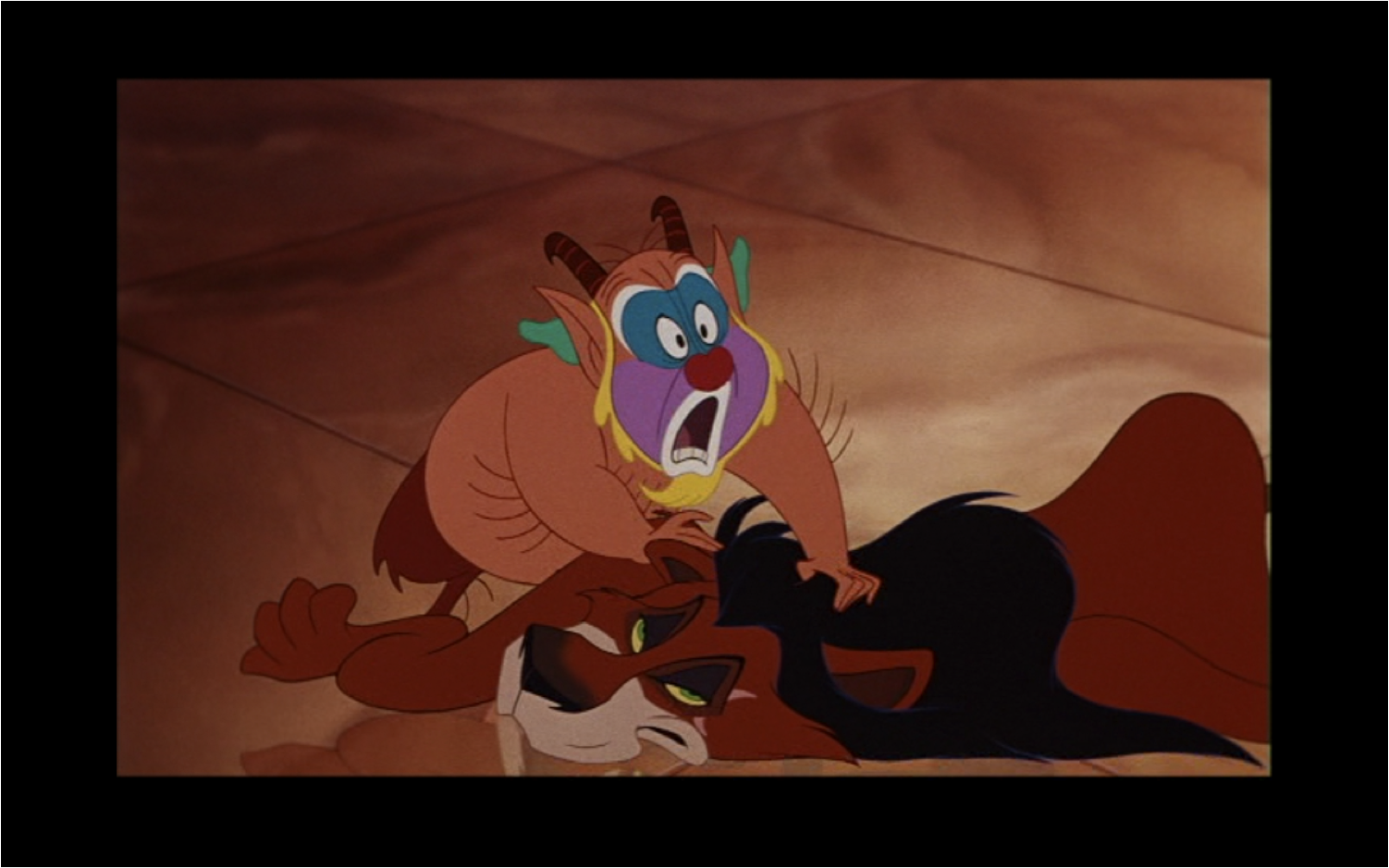 Figure 3: that Disney's version of Hercules briefly dons a lion pelt that belongs to the villain Scar adds another dimension to the film's rejection of the ancient caveman Hercules. This demonstrates how modern texts play on their audiences' knowledge, just as ancient texts capitalize on their audiences' deep familiarity with the details of myth.   Image credit: screen capture (Walt Disney Pictures/Walt Disney Feature Animation).