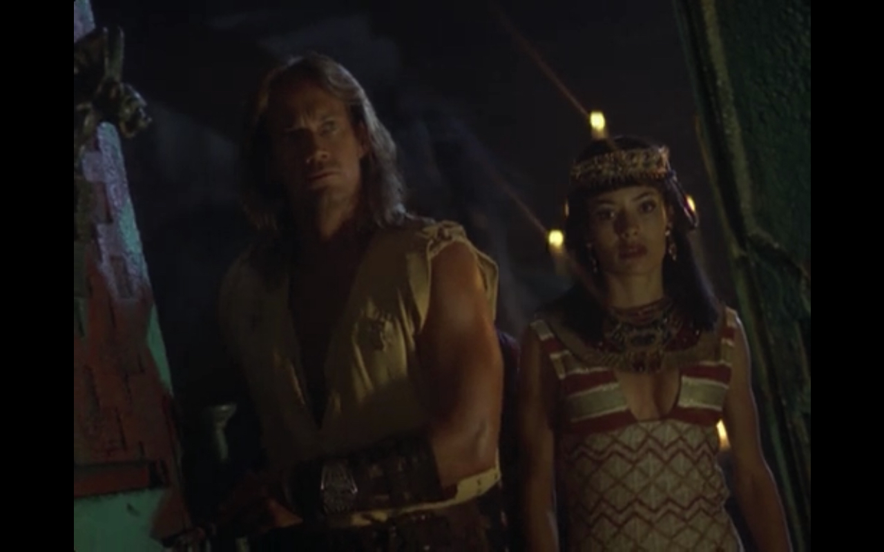 """Figure 1: Hercules and Princess Anakit face the mummy   in the  Hercules: the Legendary Journeys  episode """"Mummy Dearest"""" (3.4). Image credit: screen capture (MCA Television/Renaissance Pictures)."""