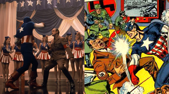Figure 1: Cap re-enacts a scene (left) from his first comic-book appearance (right).