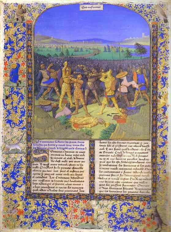 """Figure 4: Fouquet's """"The Battle Between Romans and Carthaginians."""" A medieval work, this composition assimilates figures of antiquity to contemporary standards: the combatants are wearing medieval armor!"""