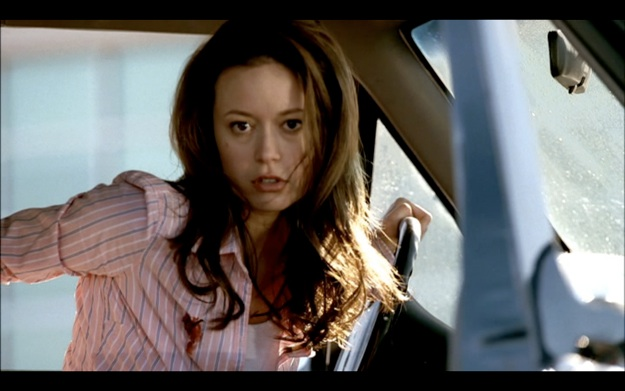 """Figure 1: """"Come with me if you want to live."""" In a scene from the  TSCC  pilot, Cameron rescues John from imminent termination by ramming the T-888 with a truck. The """"come with me"""" line, as  post #2 explains , links all the entries of the  Terminator  series together, but it also functions as a marker of change. From Kyle in  T1  and  Salvation  to the """"good"""" T-800 in  T2 , the line questions the shifting ethical intentions of the terminators."""
