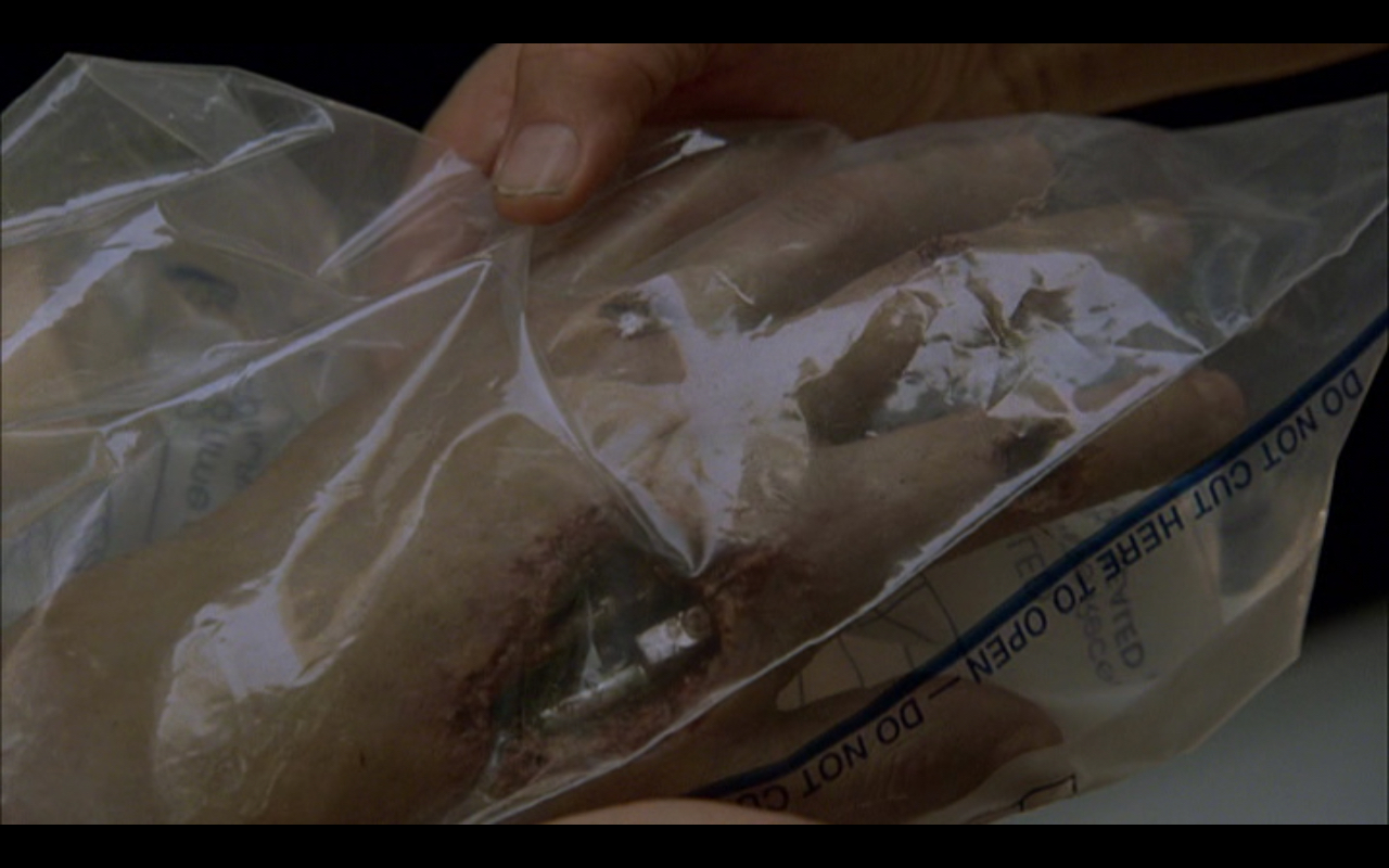 """Figure 4: In the episode """"The Demon Hand"""" Dr. Silberman examines the T-888 model's arm that Cameron is tasked with stealing back. Is this """"the demon hand"""", is it Cameron's own, or is it Silberman's?"""