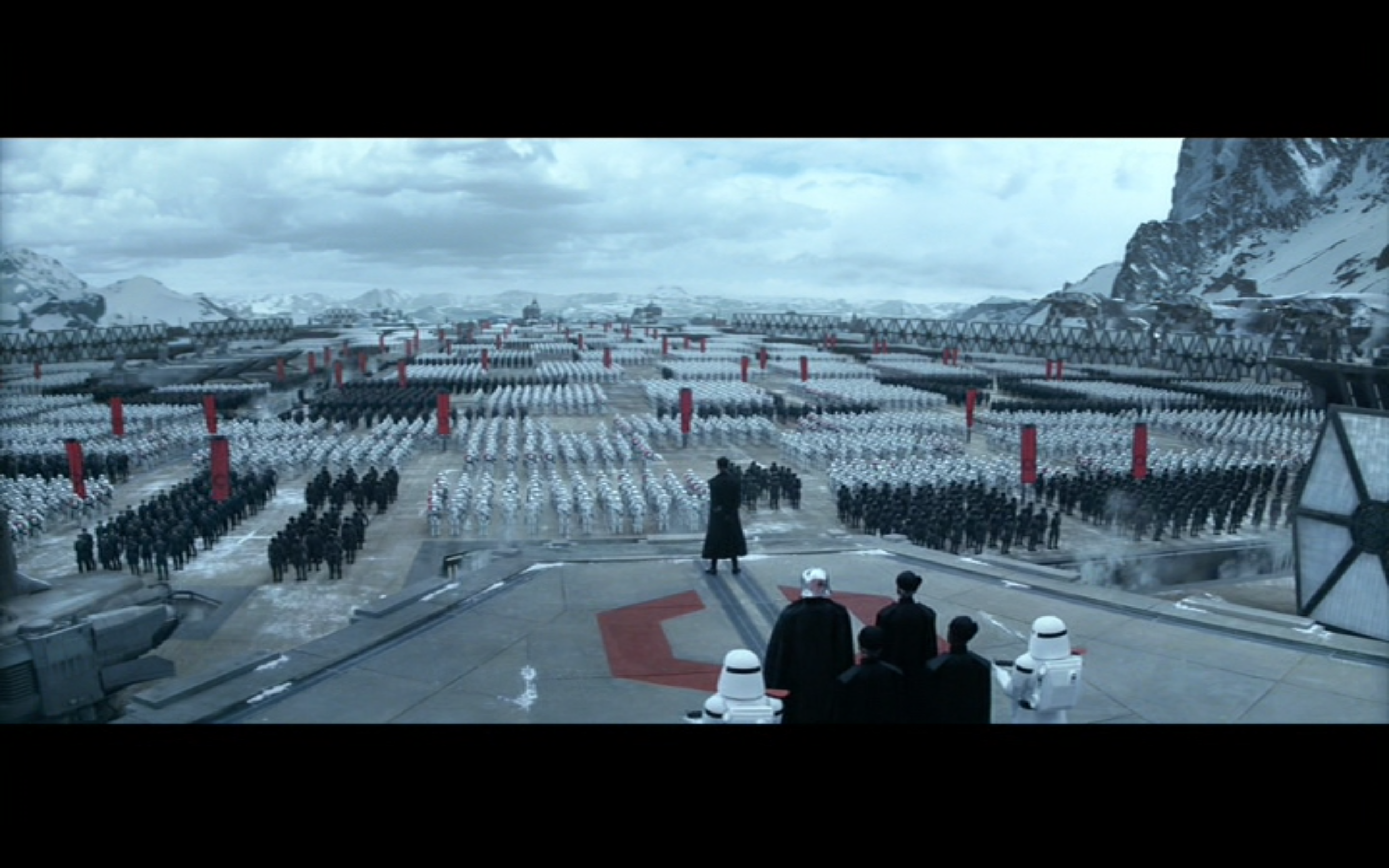 Figure 7: General Hux addresses First Order troops just before their super weapon destroys the planet that houses New Republi  c officers. Photo credit: Twentieth Century Fox (DVD).