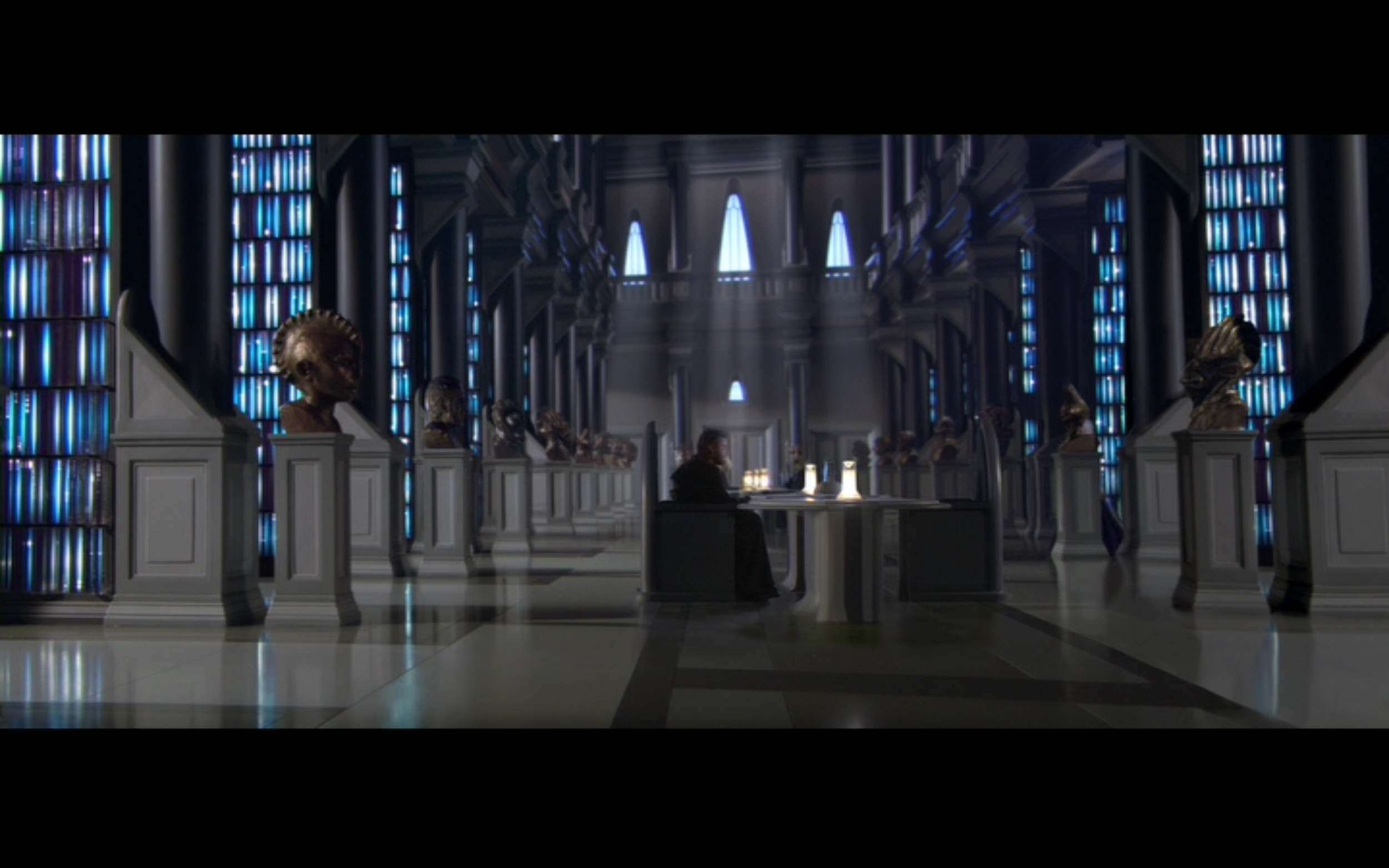 Figure 6: In  Attack of the Clones , the library inside the Jedi Temple has columns and busts. Photo credit: Twentieth Century Fox (DVD).