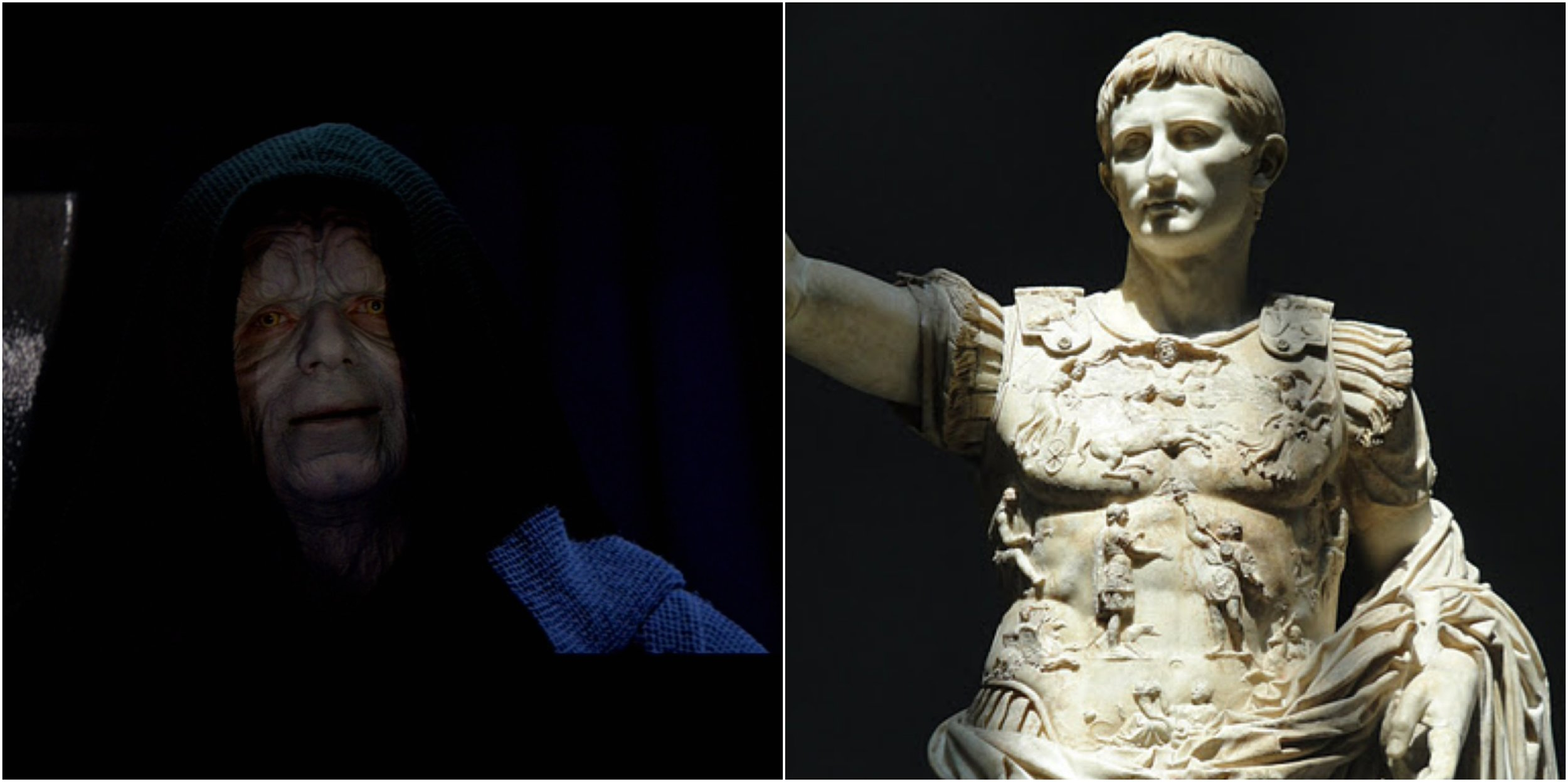 Figure 1: Two of a kind? On the left,  Star Wars ' Emperor Palpatine; on the right, Rome's first emperor Augustus, as portrayed in the Prima Porta statue. Photo credits: Twentieth Century Fox (DVD) and Wikimedia Commons.