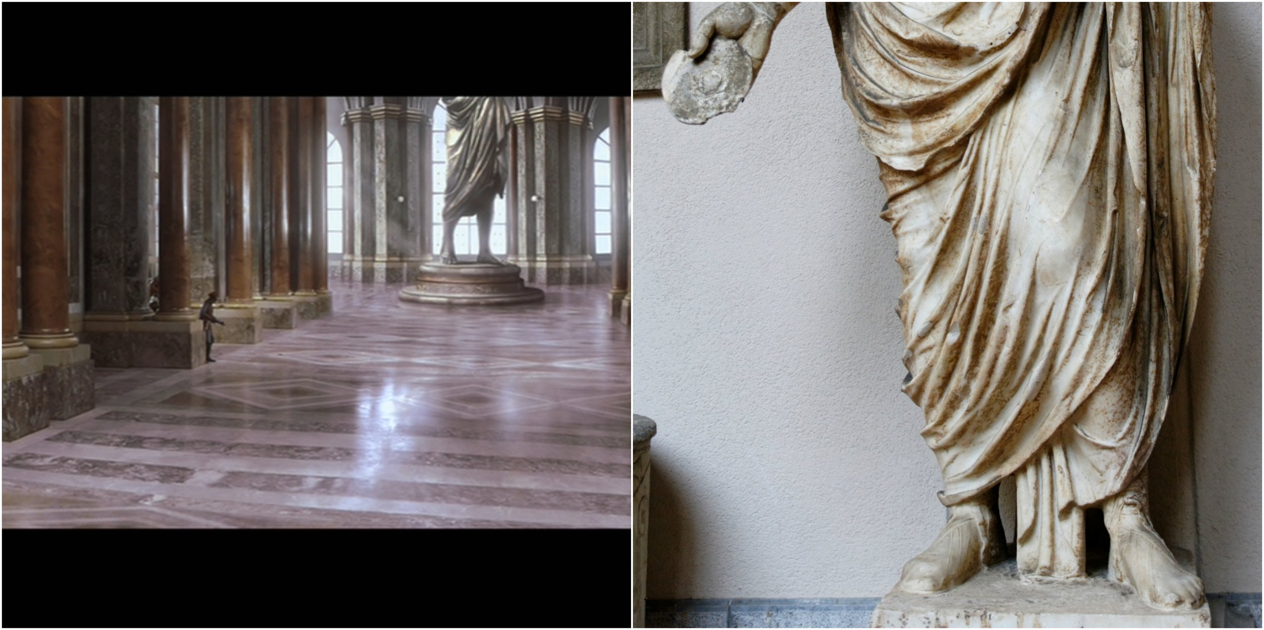 Figure 4: Columns line the walls of the Naboo palace (left) , and, visible in the same shot, the bottom half of a statue wearing a toga, similar to a first-century A.D. statue of a Roman man (right). Photo credits: Twentieth Century Fox (DVD) and Wikimedia Commons.
