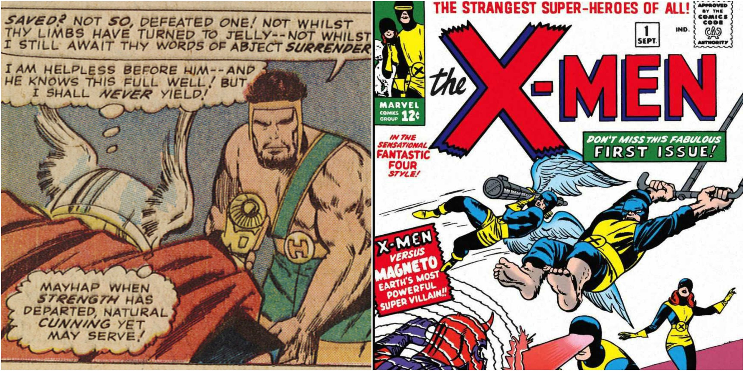 """Figure 5: On the left, the ostentatious waist-wear of Marvel's Herc is visible ( The Mighty Thor  #126); on the right, Marvel's X-Men similarly sport an """"X"""" symbol in  The X-Men  #1 (1963). Image credits: scan of comic book and screen grab of comic book (Marvel)."""