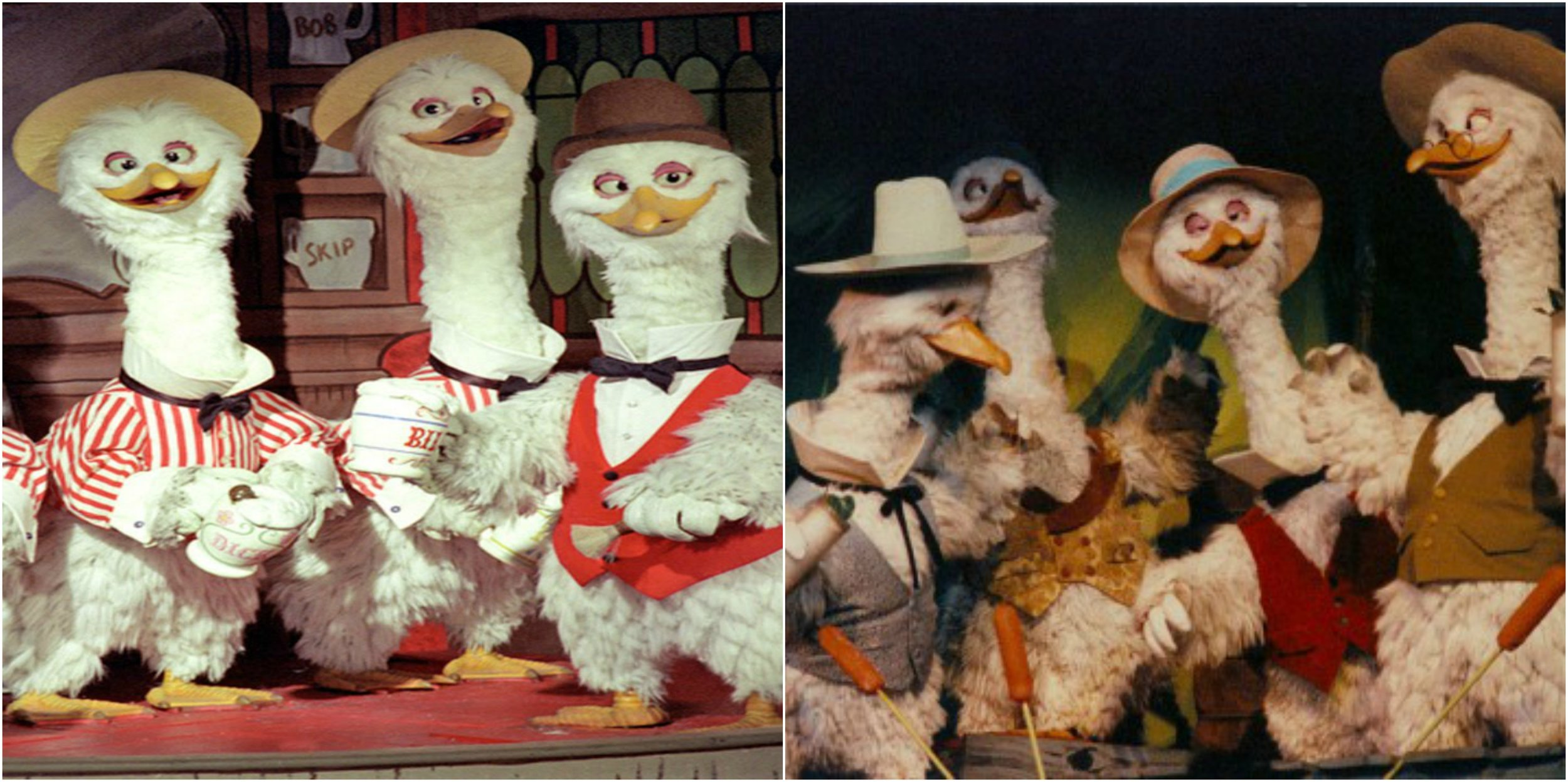 Figure 5: On the left are geese characters from Disneyland's shuttered America Sings attraction. On the right, those same animatronics now appear in Disneyland's Splash Mountain.