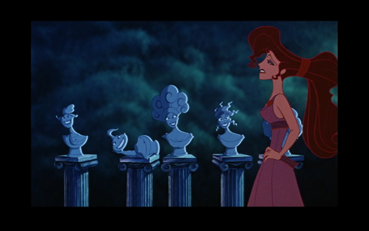 Figure 2: The Muses as five busts in Disney's  Hercules .