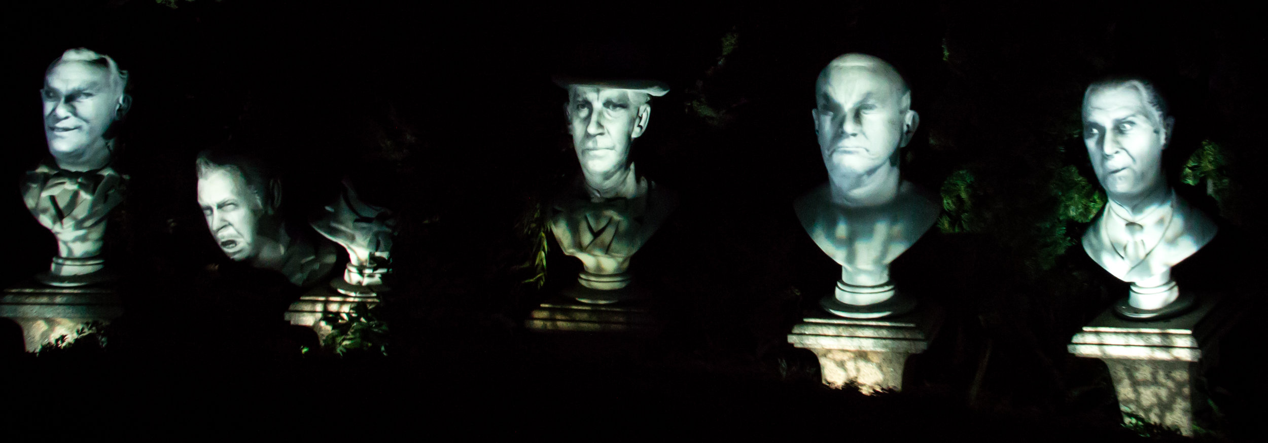 Figure 4: The five singing busts in the graveyard of Disney's Haunted Mansion attraction.