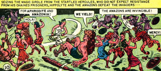 Figure 2: With the help of Aphrodite, the Amazons defeat Hercules' band, and then they leave Greece to settle Paradise Island in  Wonder Woman  #1 (1942). Credit: Detective Comics.