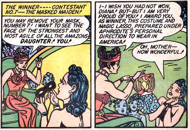 Figure 3: In  Wonder Woman  #1 (1942), Hippolyte makes a costume for Diana to wear on her mission in the mortal world. Credit: Detective Comics.