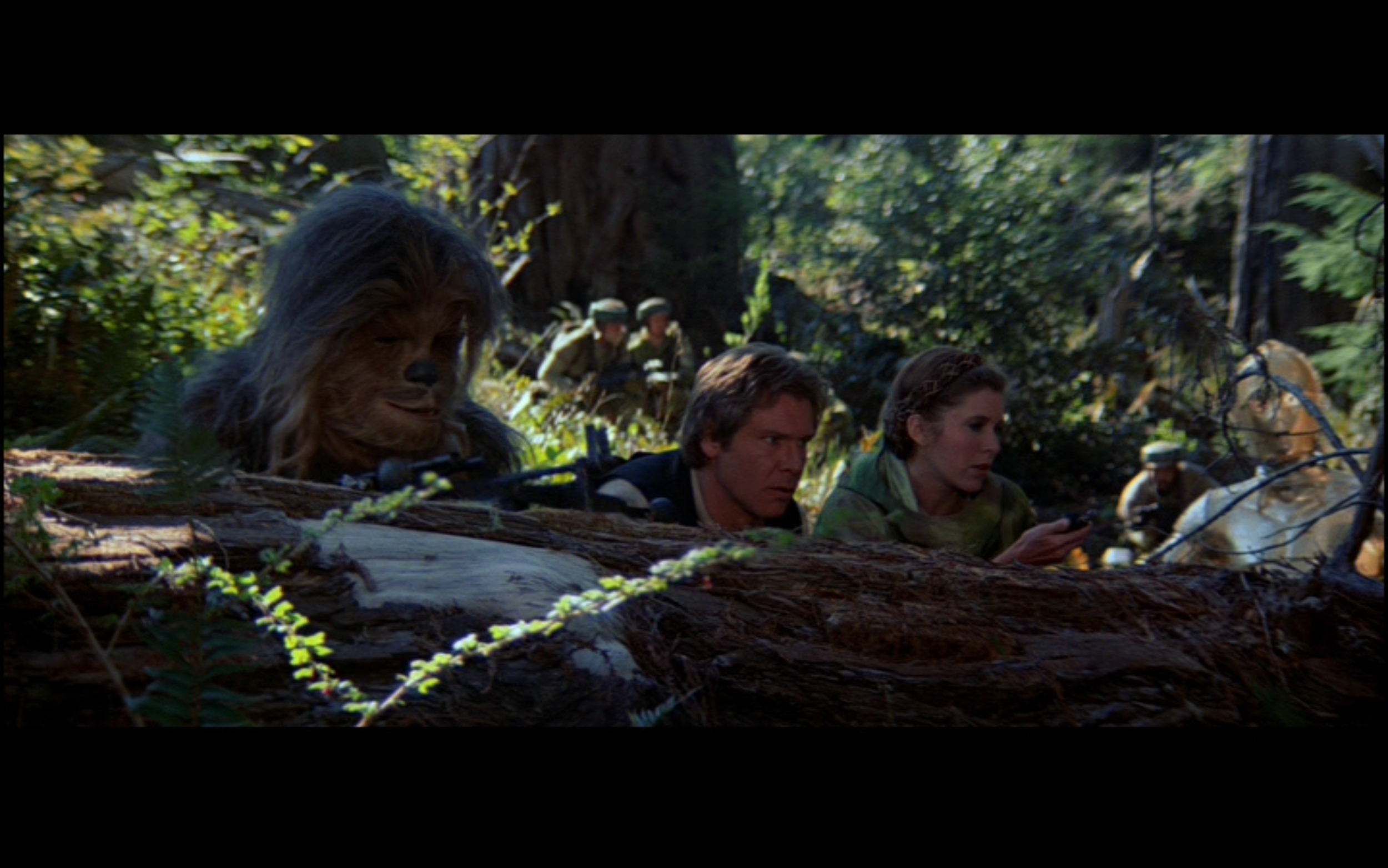 Figure 1: The rebel strike team, accompanied by several Ewoks, watch as an imperial shuttle takes off from a landing pad near the shield generator that they need to destroy so that the Rebel fleet can attack the Death Star. Image credit: screen capture from  Return of the Jedi  (20th century Fox/Lucasfilm).