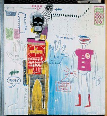 Figure 6: The 1983 painting  Piano Lesson (for Chiara)  by Jean-Michel Basquiat features versions of Batman and Robin more in keeping with the tone of Warhol and the  Batman  TV series.