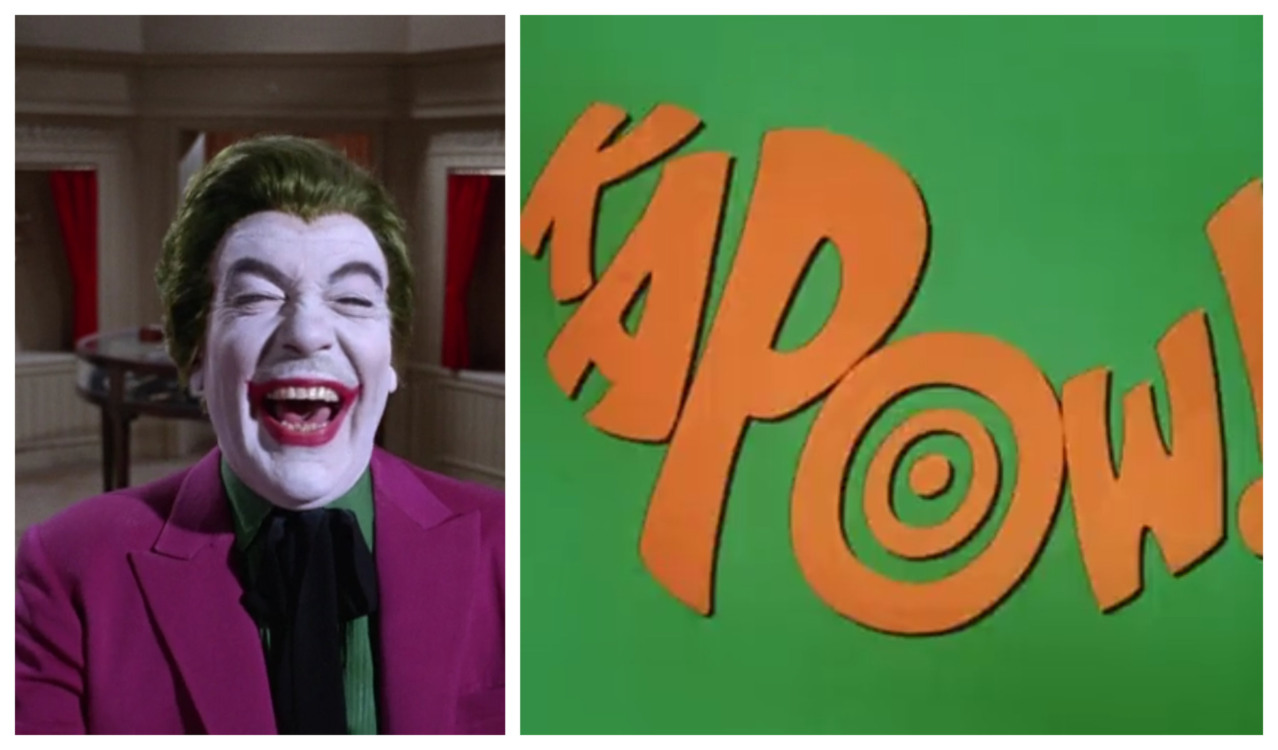 """Figure 5: Frames from the episodes """"The Joker is Wild ( Batman  1.5; 1966) and """"Minerva, Mayhem and Millionaires"""" ( Batman  3.26; 1968) demonstrate the riotous color palette of the series as well as its commitment to comic-book-style violence."""